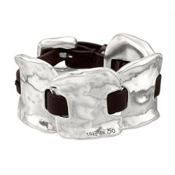 Wide Silver Leather handcuff Bracelet from UNOde50