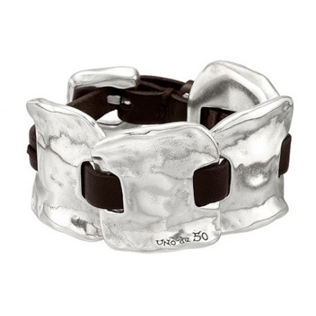 Wide Silver Leather handcuff Bracelet