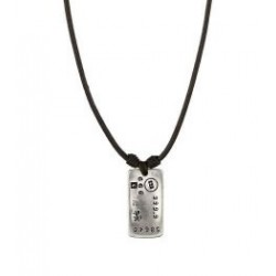 Leather necklace with dog tag pendant
