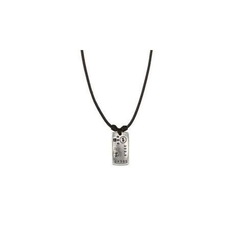 Collier avec pendentif en métal plaqué argent et cuir marron