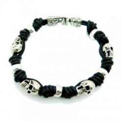 Skull Leather Bracelet in Biker or Rocker Style