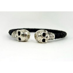 Skull Leather cuff Bracelet