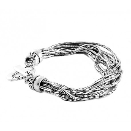 Multi strand silver snake link chain bracelet