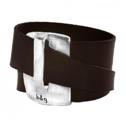 Leather handcuff bracelet with a stunning silver clasp