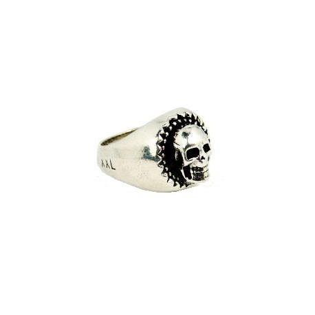 Silver plated skull ring for men