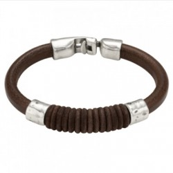 Leather bracelet cotton thread inlay