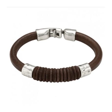 Bracelet cuir rond fil de coton