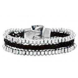 Bracelet cuir perlés argent