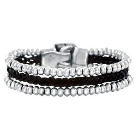Silber Perlen Lederarmband