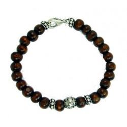 Bracelet perles en bois marron