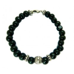 Bracelet perles en bois noir
