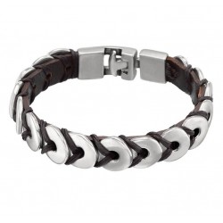 Bracelet chaine au laçage en cuir