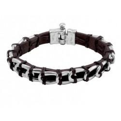 Bracelet cuir avec liens entrelacées en cuir