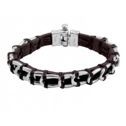 Leather bracelet with silver links