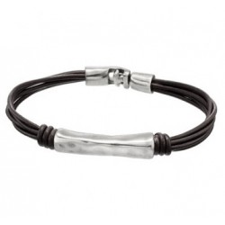 Brown leather bracelet with tube insert