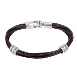 Mens brown multistrand leather bracelet with separators