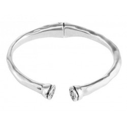 Open silver bangle bracelet with bullet cup tags