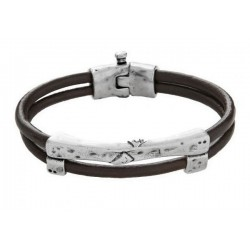 Double strand leather bracelet with separators