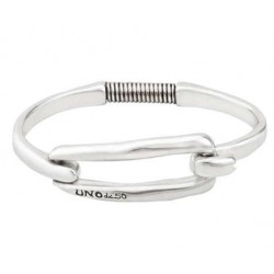 Silver bangle rectangle buckle