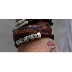 Bracelet with earth toned ceramic beads