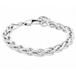 Twisted curb chain silver bracelet