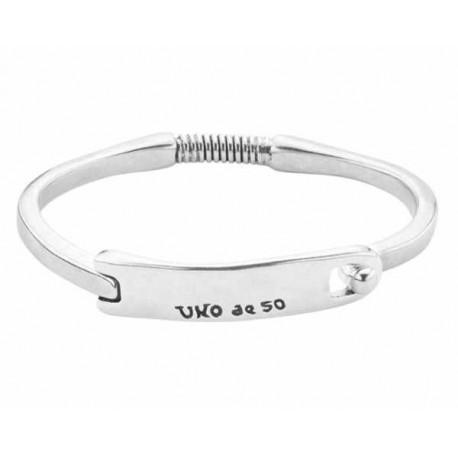 Silver bangle bracelet rectangle tag