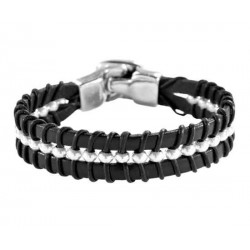 Silver beaded black leather bracelet