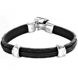 Bracelet homme cuir noir 2 clips