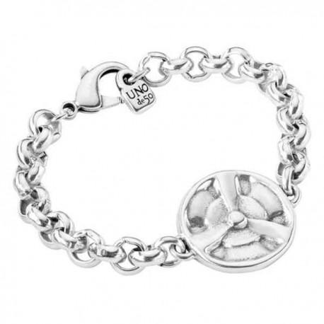 Silver Chain Bracelet Round Pendant