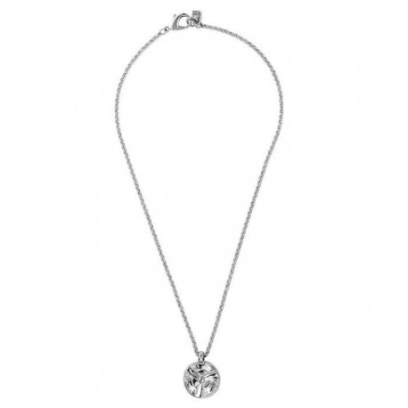 Long silver necklace round coin