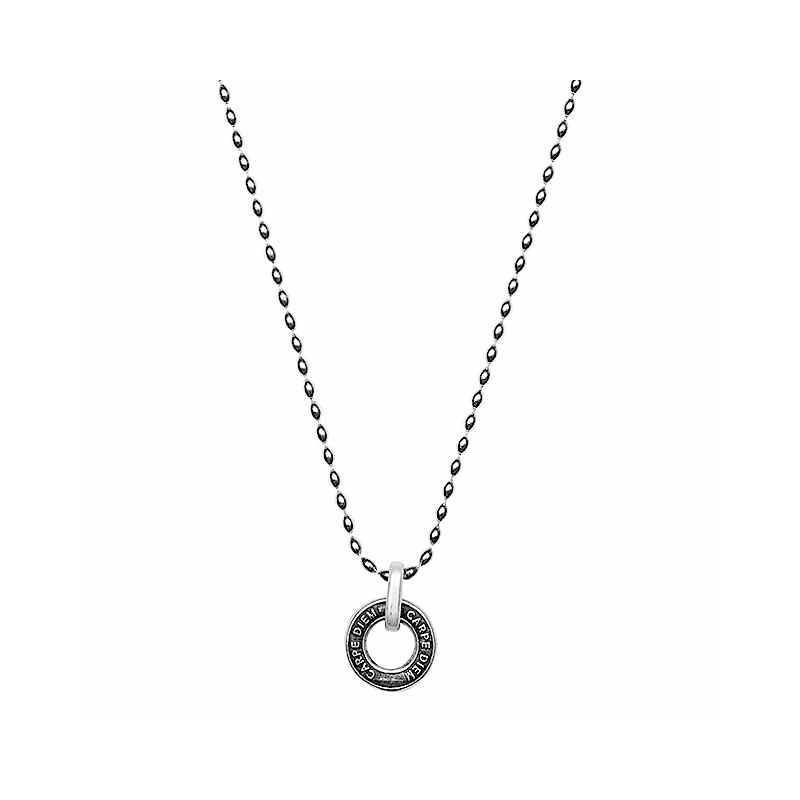 Lange Silberperlen Halskette Runder Anhaenger