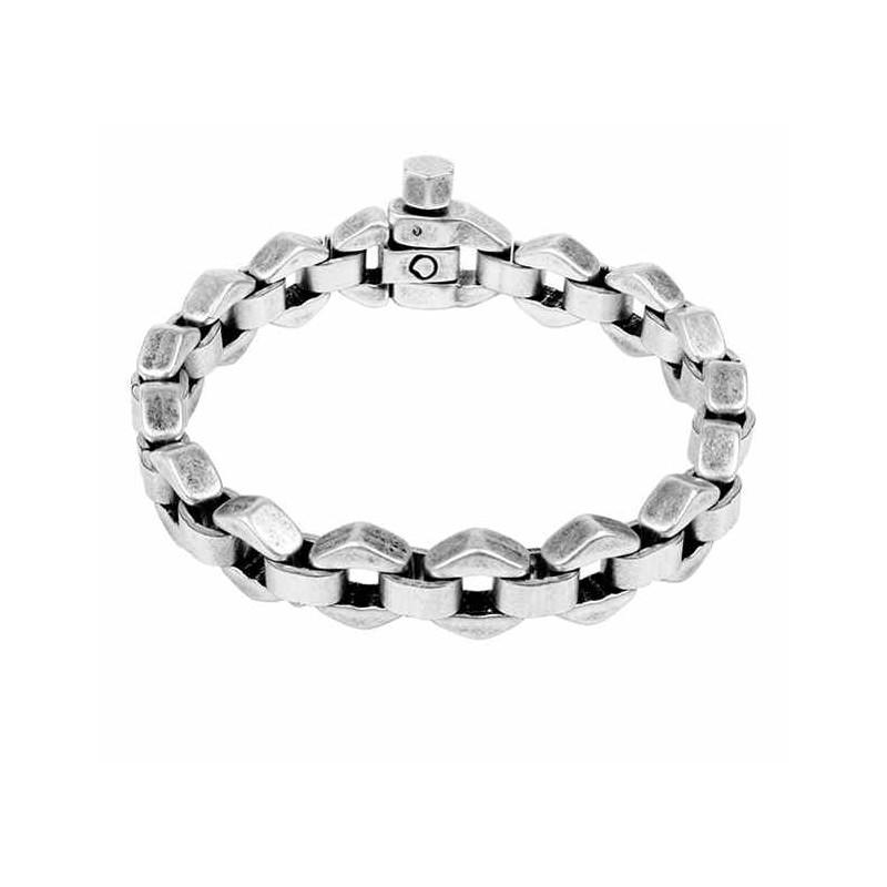 Silver bracelet 6-sided links