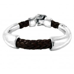 Brown leather bracelet silver tubes