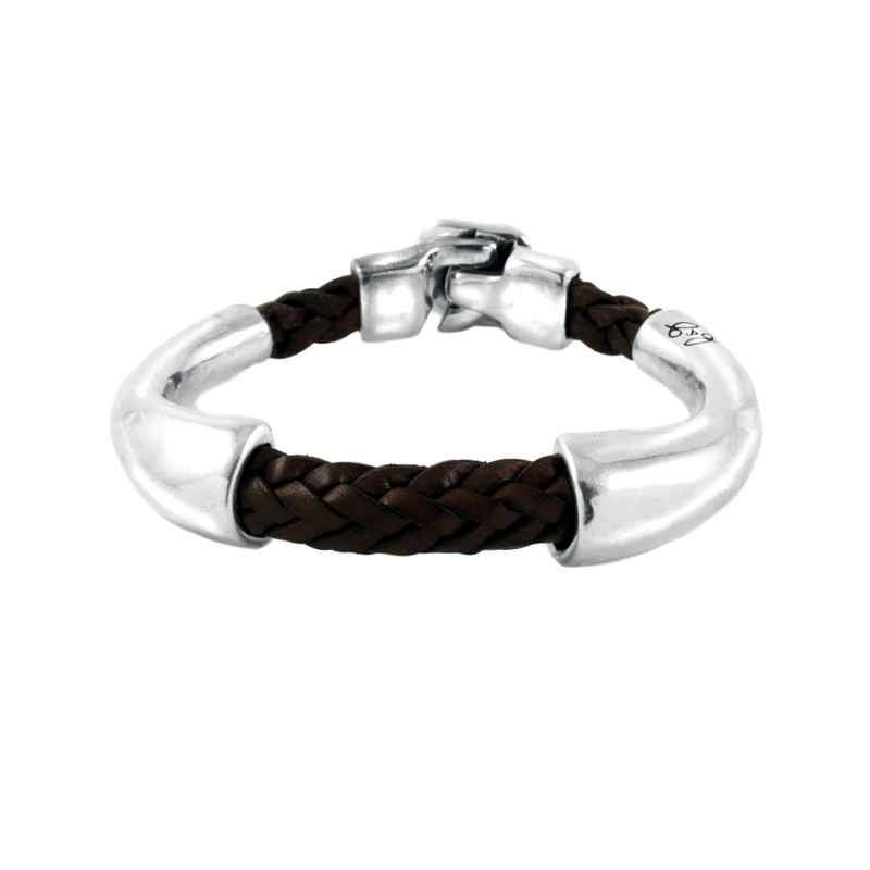 Brown leather bracelet silver tubes