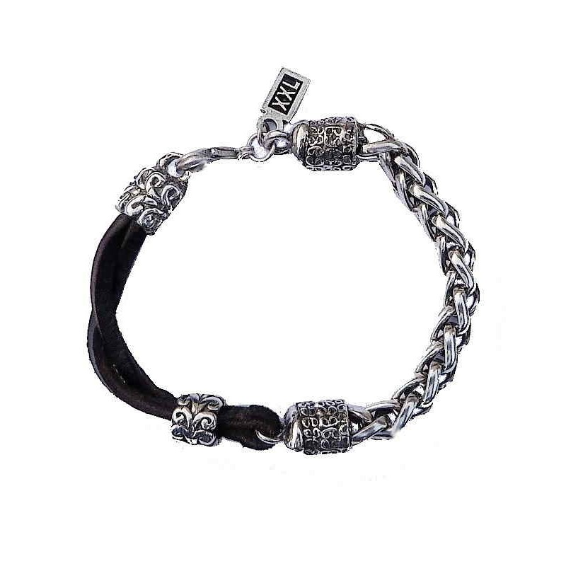 Armband Leder mit Silbergliedern