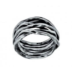 Dark Intertwined Wire Silver Ring
