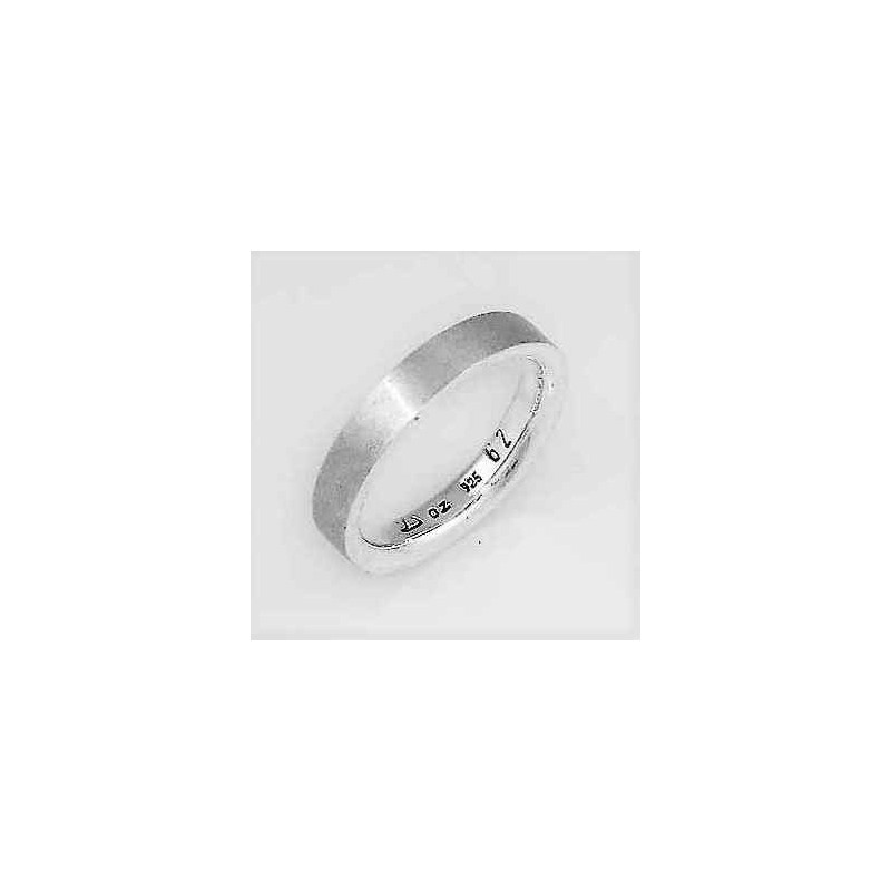 Mat polished sterling silver ring