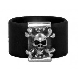 Skull ring black rubber band