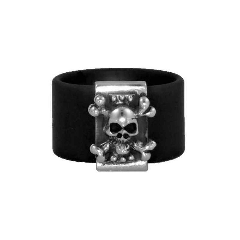 Skull ring black rubber band