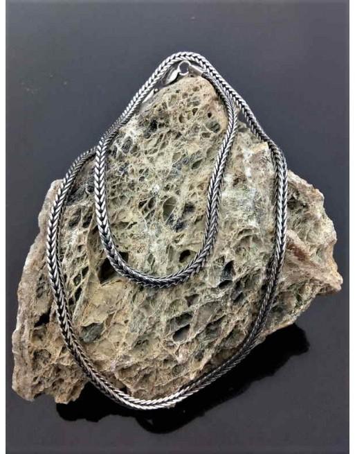 Silberkette mit geflochtenen Fuchsschwanzgliedern