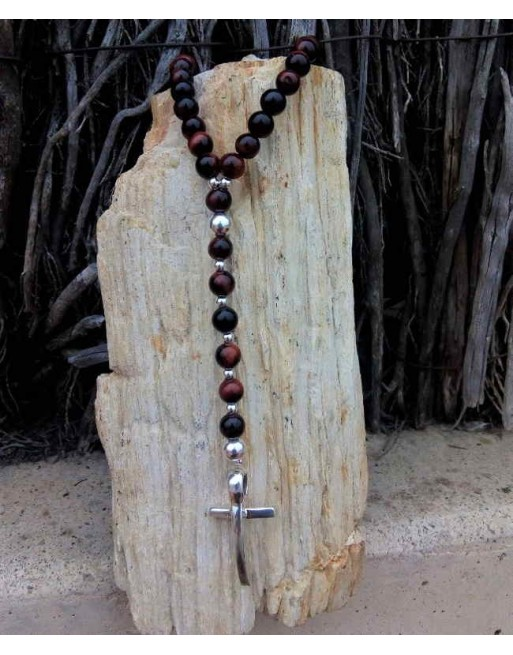 Brown ball pearl cross necklace