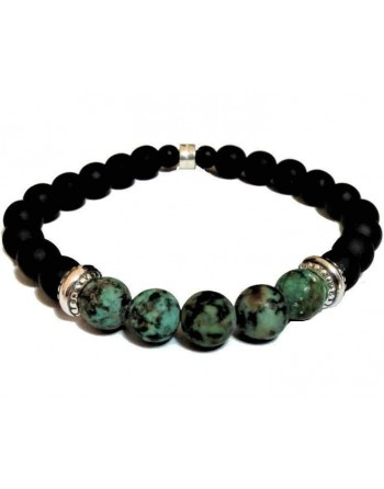 Black ceramic beaded bracelet green natural stones