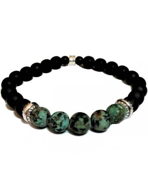 Black ceramic beaded bracelet green natural stones