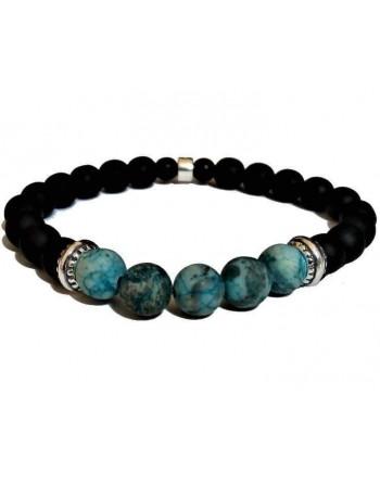 Black ceramic beaded bracelet turquoise natural stones