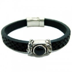 Black Leather Bracelet with resin stone