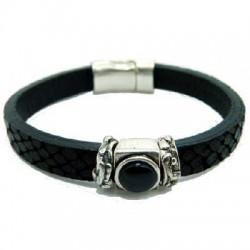 Black Leather Bracelet with resin stone