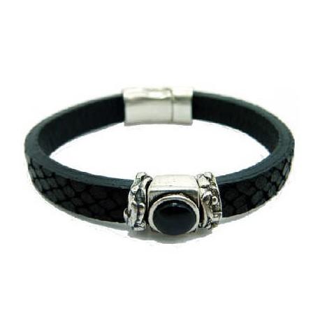 Bracelet cuir serpent noir