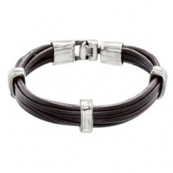 Mens leather bracelet with separators