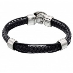 Braided leather bracelet in snake leather effect