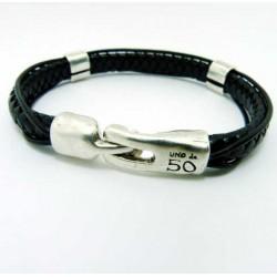Black braided leather snake bracelet